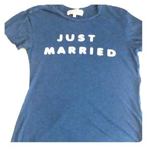 "WILDFOX ""just married"" blue & white basic soft tee"